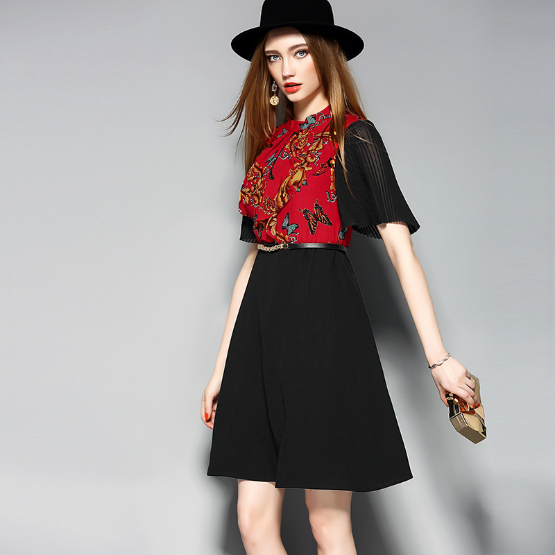 Fashion Zipper Placket Black Women Prom Dress with Belt