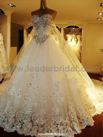 Wedding dress custom a line white ivory lace rinestones bridal dresses