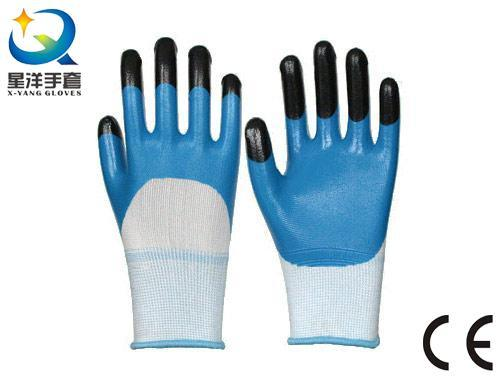 Nitrile Coated, Finger Reinforced, Procective Safety Work Gloves (N7011)