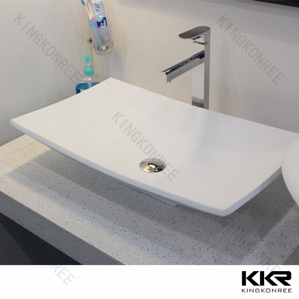 2014 Modern Artificial Stone Pedestal Bathroom Wash Basin