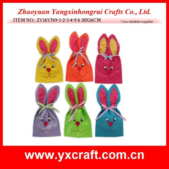 Easter Decoration (ZY16Y769-1-2-3-4-5-6) Easter Handicraft Long Ear Bunny Bag
