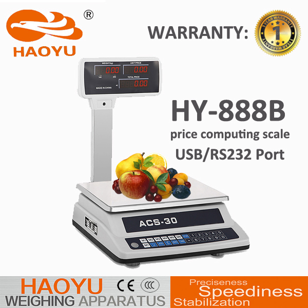English Voice Electronic Price Scale (HY-888B) Double Side Display with Pole