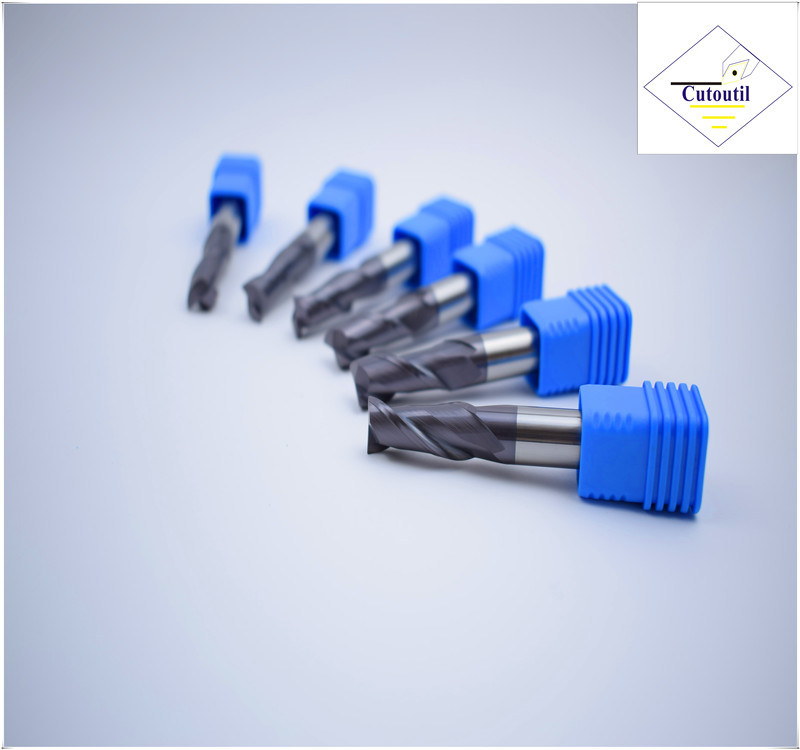 Cutoutil HRC45 Tialn Coating D7*20*D8*60  2f/4f for Steel CNC Machining Part   Square  Carbide End Mills Tools