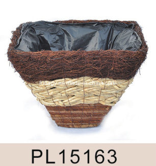 Square Salim Rattan & Grass Leaf Planter