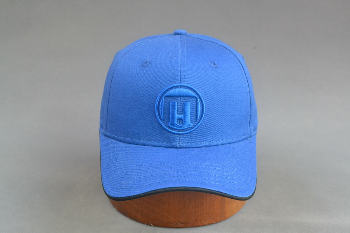 Blue Cotton Baseball Cap with 3D Embroidery