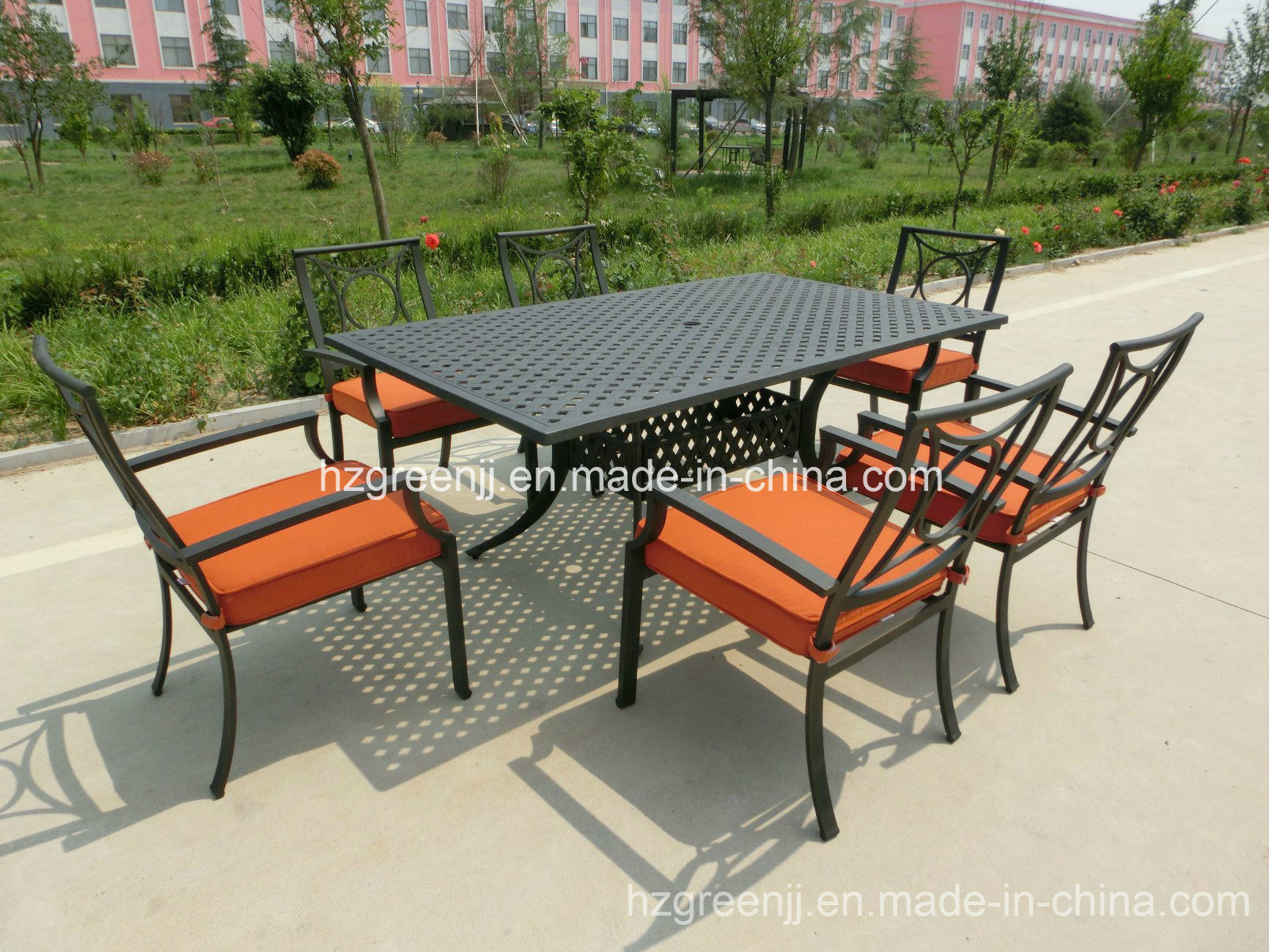 Power Coating 7 Pieces Arm Chairs Rectangle Table Dining Furniture