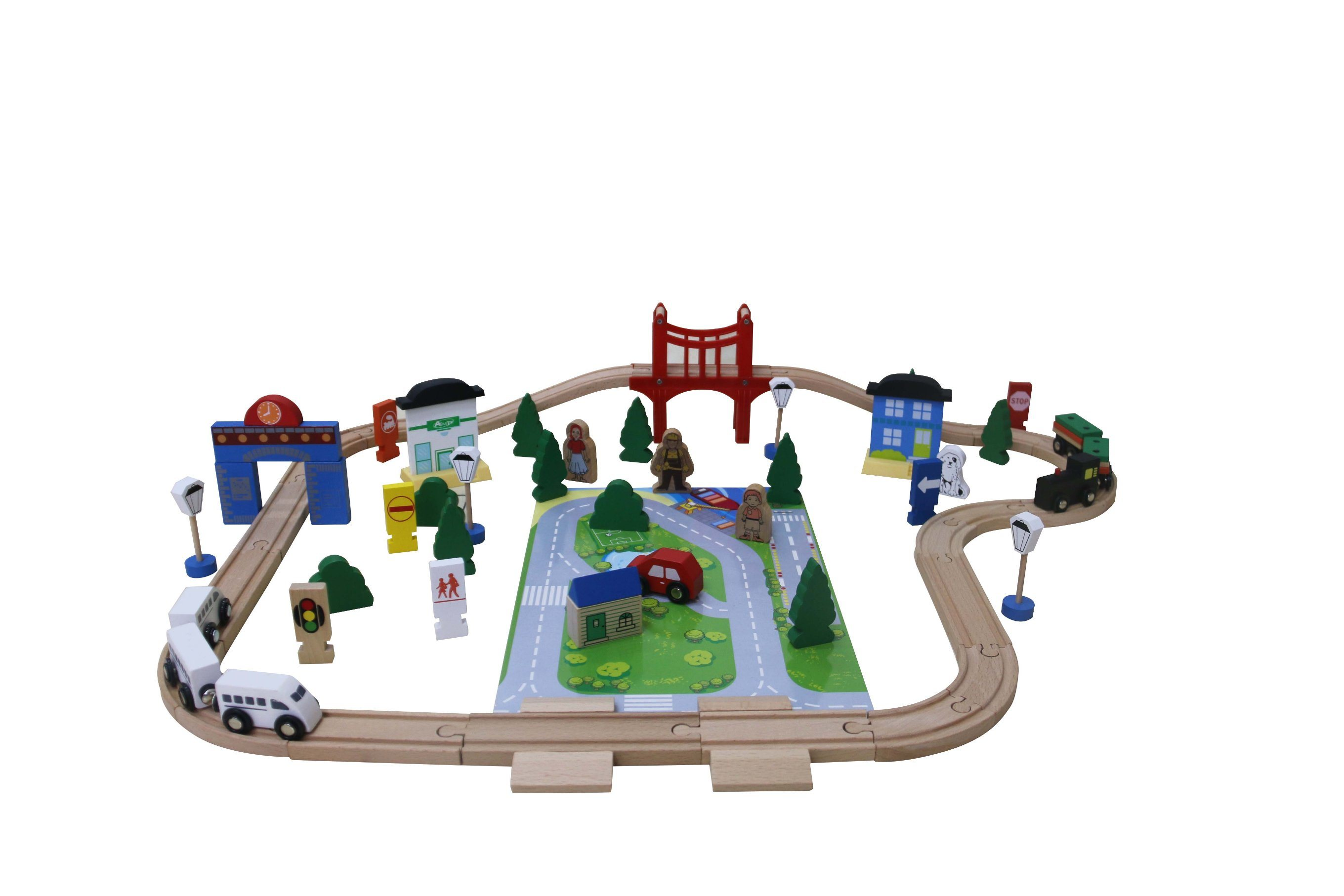 80PCS Wooden Train Set Toy for Kids and Children