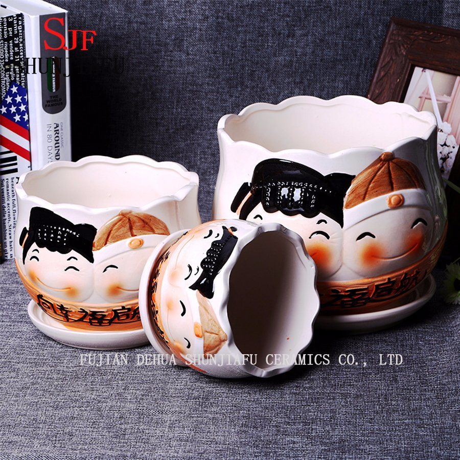 Gifts & Decor Ceramic Cute Doll Pattern Round Flowerpot