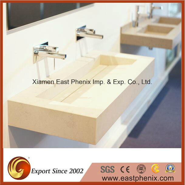 White Quartz Vanity Top for Hotel/ Commercial Project