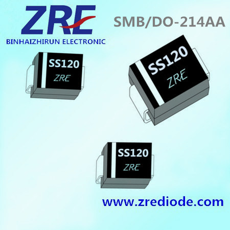 1A Schottky Barrier Rectifier Diode Ss12 Thru Ss120 SMB-Do/214AA Package