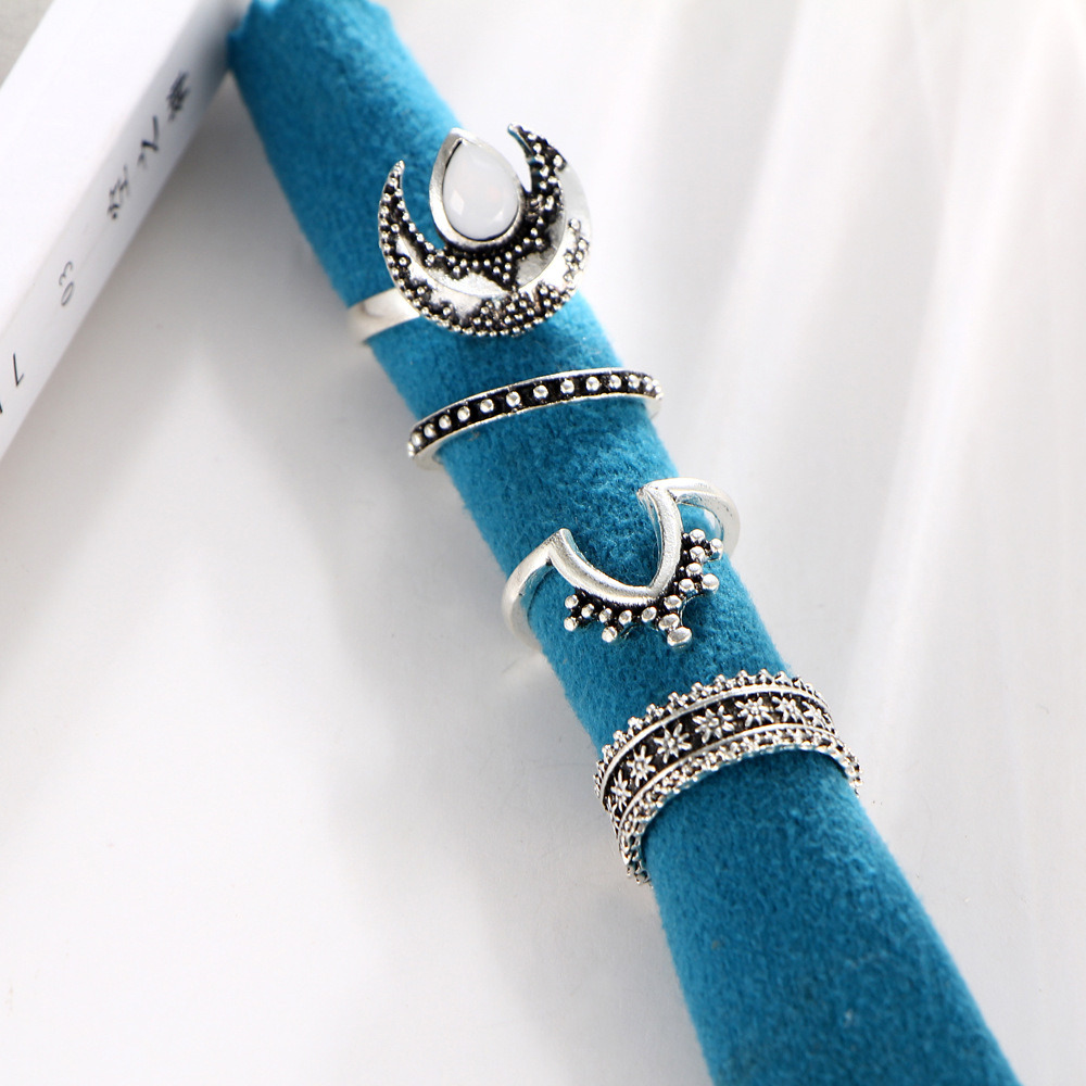 Imitation Jewelry Metal Ethnic MIDI Finger Opal Knuckle Ring Set De Anillos
