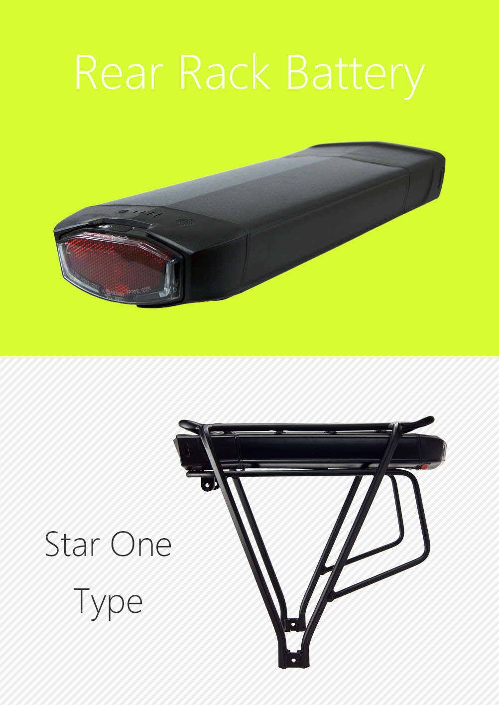 48V 11.6ah 2900mAh Lithium Battery Pack with Rear Rack Case for Electric Bike