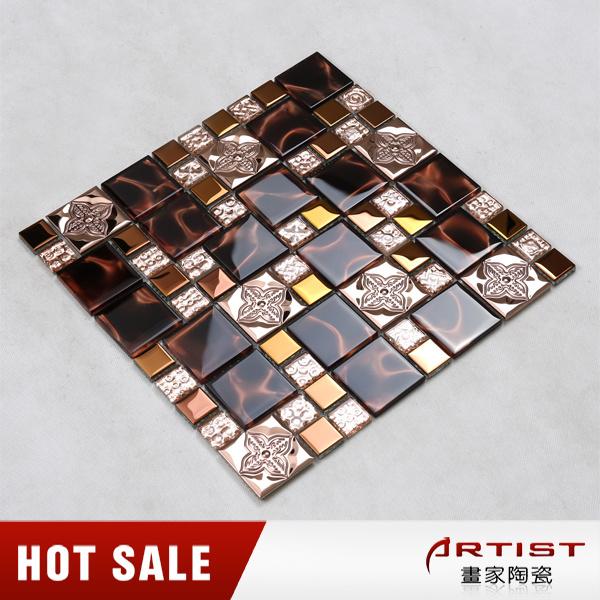 Rose Color Metal Plating Crystal Glass Mix Flower Pattern Mosaic Tile