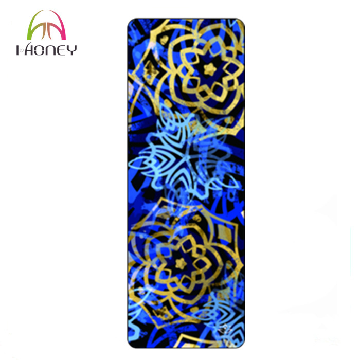 Eco Friendly Natural Rubber Yoga Mat Heat Transfer Printed Anti Slip