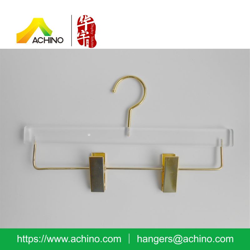 Adjustable acrylic Pant Hanger with Golden Clips (ACPH100)