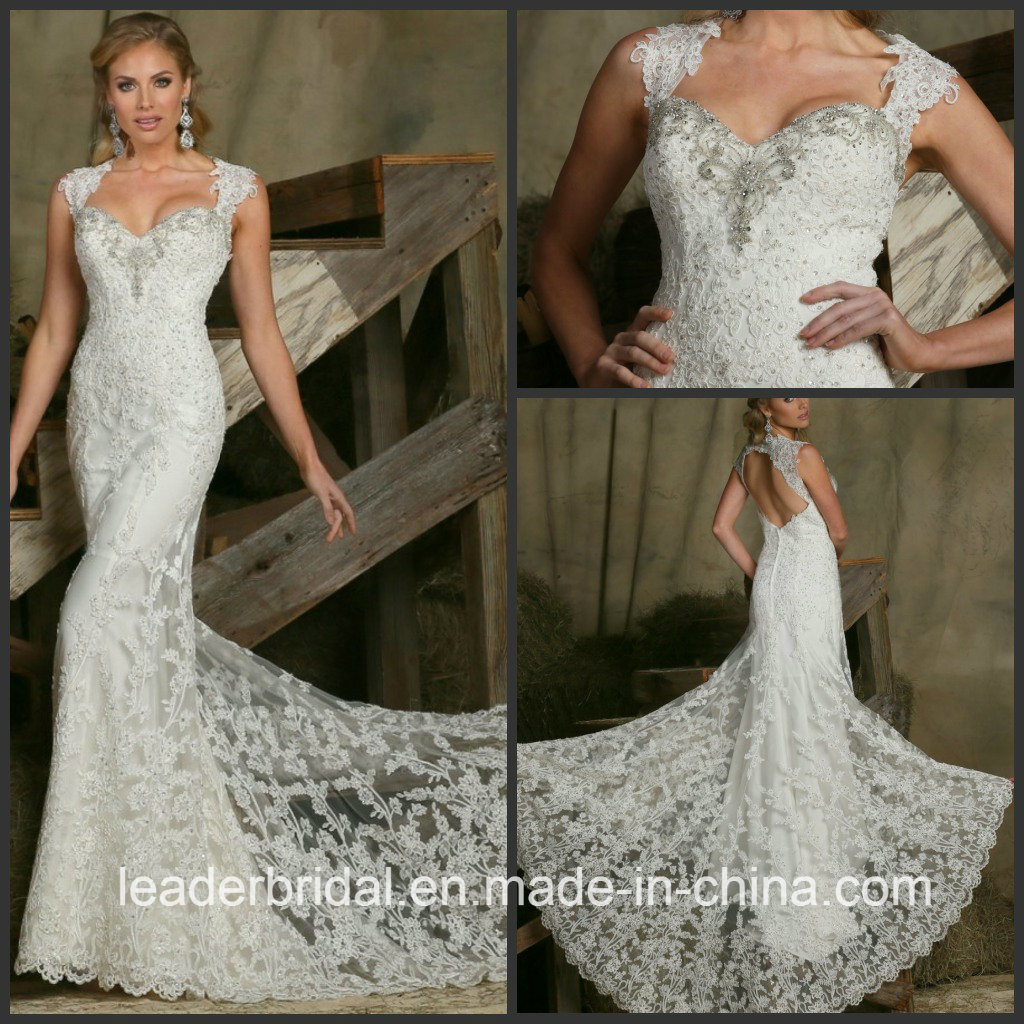 Cap Sleeves Wedding Dress Beading Lace Bridal Gown Lb20178