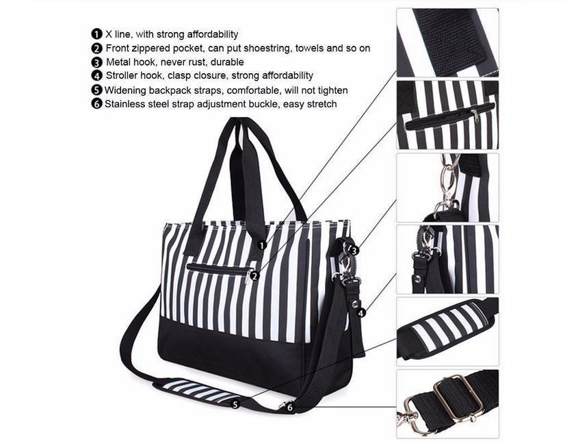 Waterproof Mummy Tote Stripe Handbag Baby Diaper Nappy Changing Bag Set
