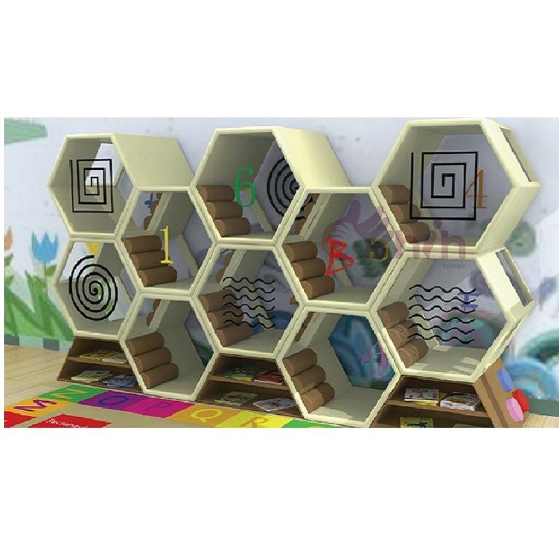 Bookshelf Preschool Kids Furnitures Honeycomb Library