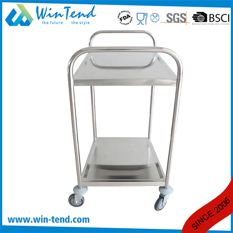 Stainless Steel Hand Pushing 2 Tiers Full Size Kitchen Catering Trolley with Wheels