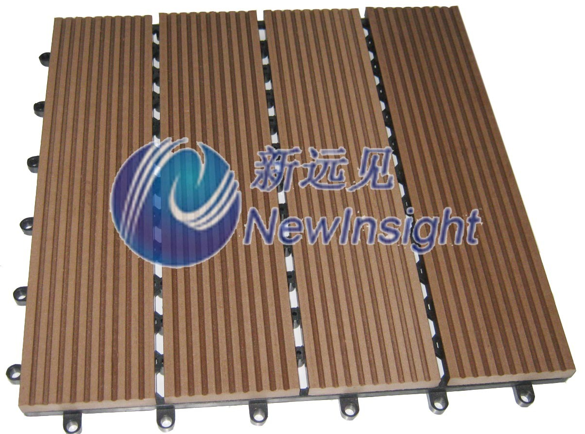 China wpc diy decking tile interlocking composite deck for Plastic composite decking
