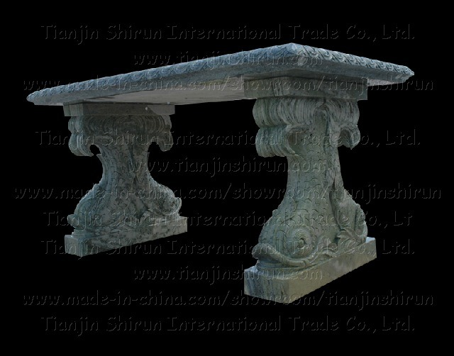 Stone Fish Carving Table, Bench, Chair (7788)