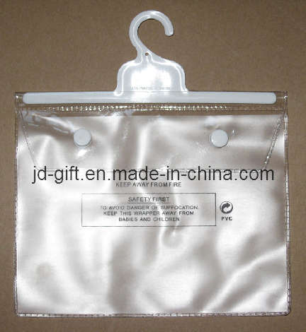 PVC Garment Packing Bag with Plastic Hook & Button