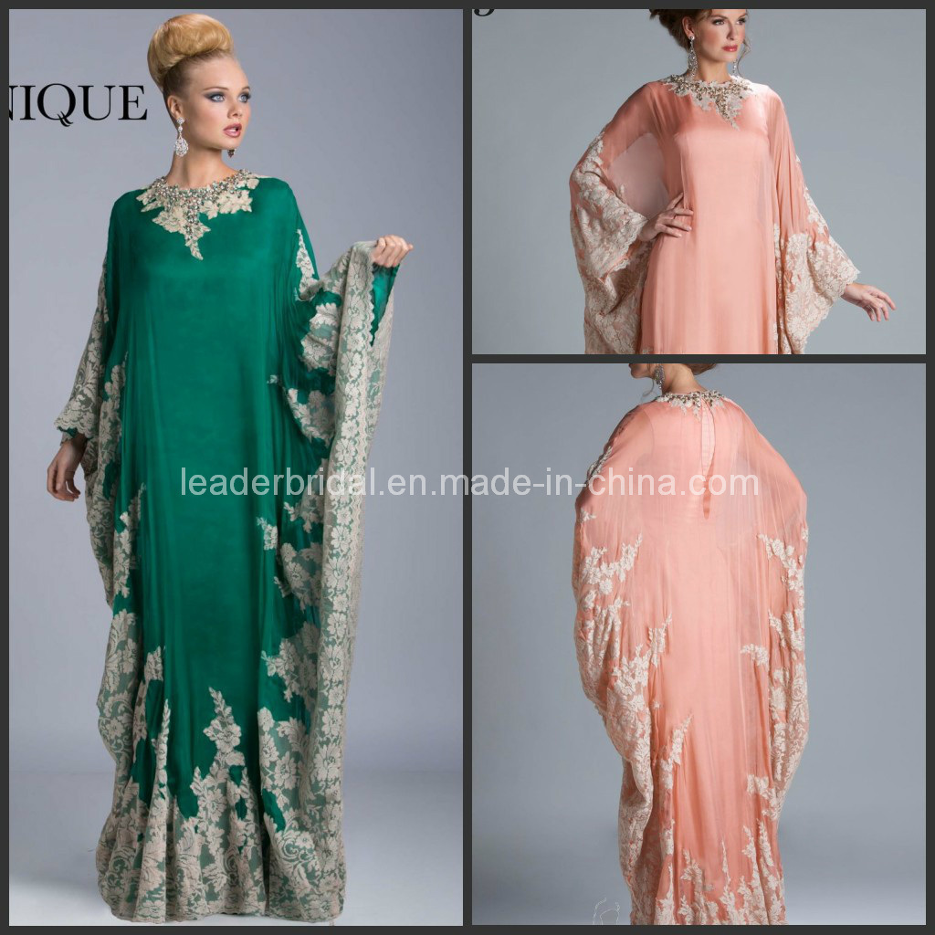 China long sleeves chiffon lace appliques beaded mother of the bride