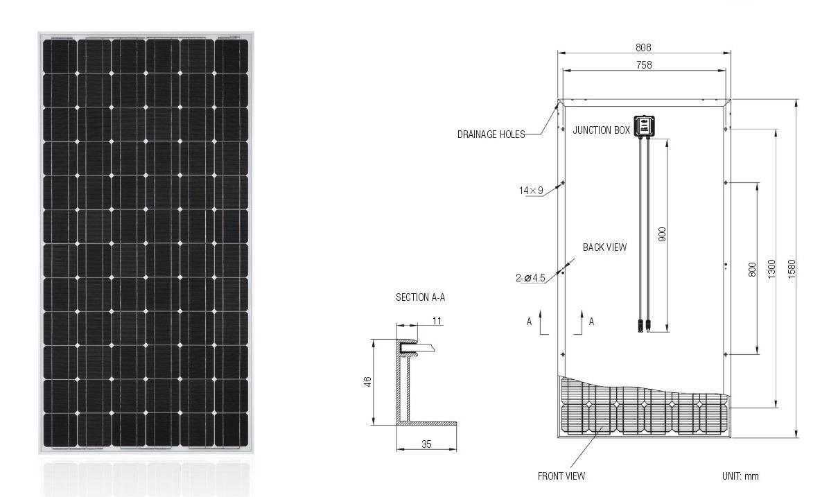 200W Solar Module PV Panel Monocrystalline Solar Panel