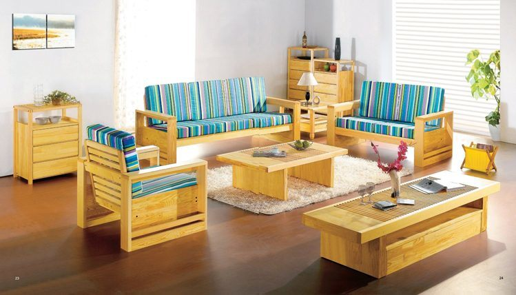 Full Living Room Furniture Set From Natural European Pine Wood   China