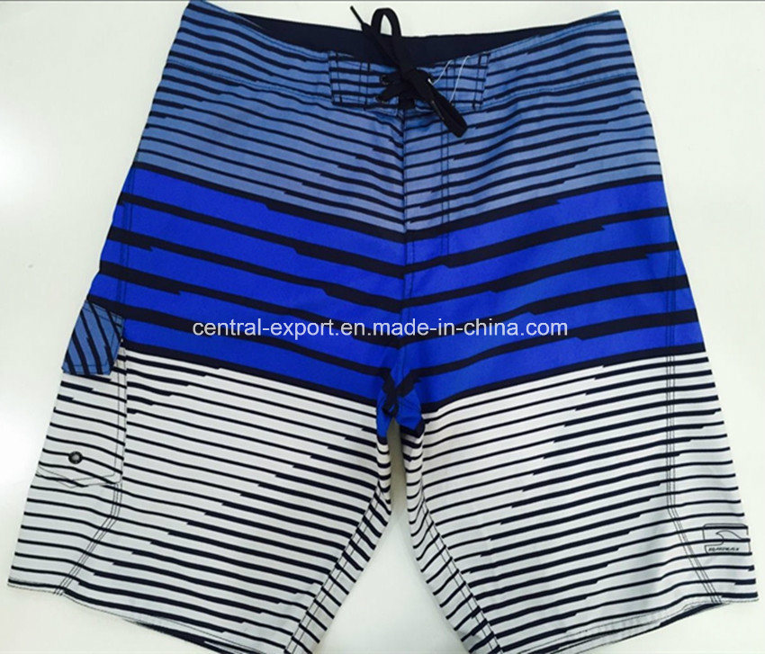 Oeko-Tex Flat Waist Polyester Striped Men Board Short Swimwear