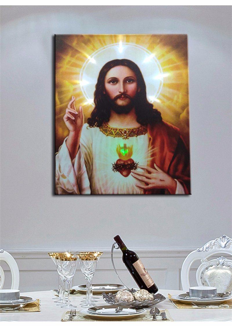 Wholesale 2016 Latest LED Light Oil Paintings on Canvas Jesus, Decoration Painting