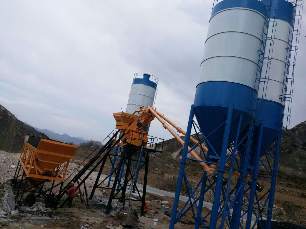 Skip Hoist Concrete Batching Mixing Plant Construction Machinery for Highrise