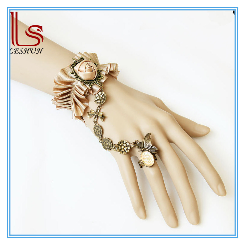 Bride Fashion Accessories Lace Flower Bracelet with Ring