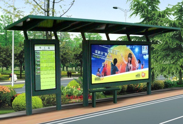 Nice Design Bus Shelter with Large Format Advertising Light Box