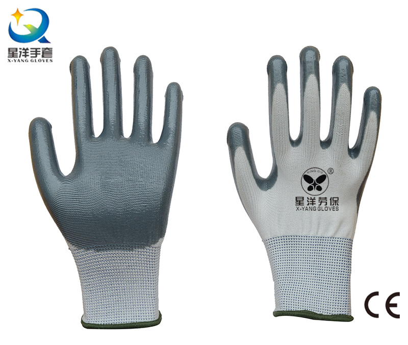13G Polyester Shell with Nitrile Coated Work Gloves (N6007)