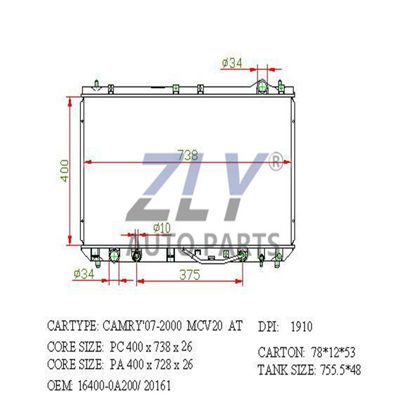 Radiator Assy for Camry 98- ATM PA26 16400-0A090