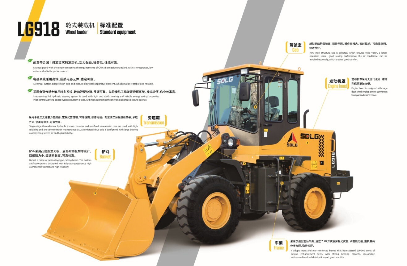 china 1 8 ton mini front end loader sdlg lg918 wheel loader with