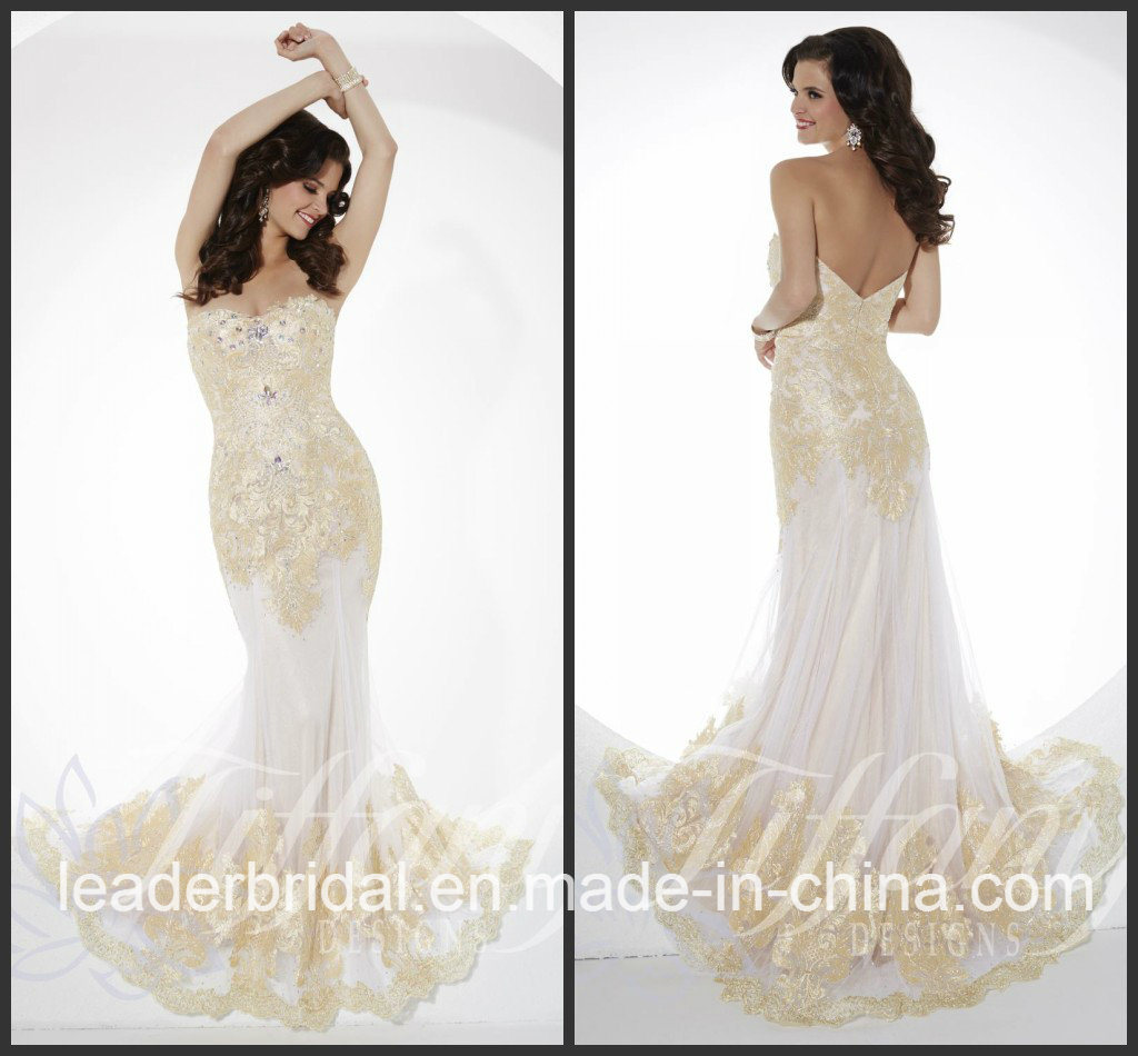 China White Chiffon Party Prom Gown Vestidos Gold Lace Evening ...