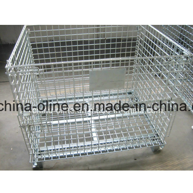 Stackable Folded Warehouse Wire Mesh Cage Match with Forklifts