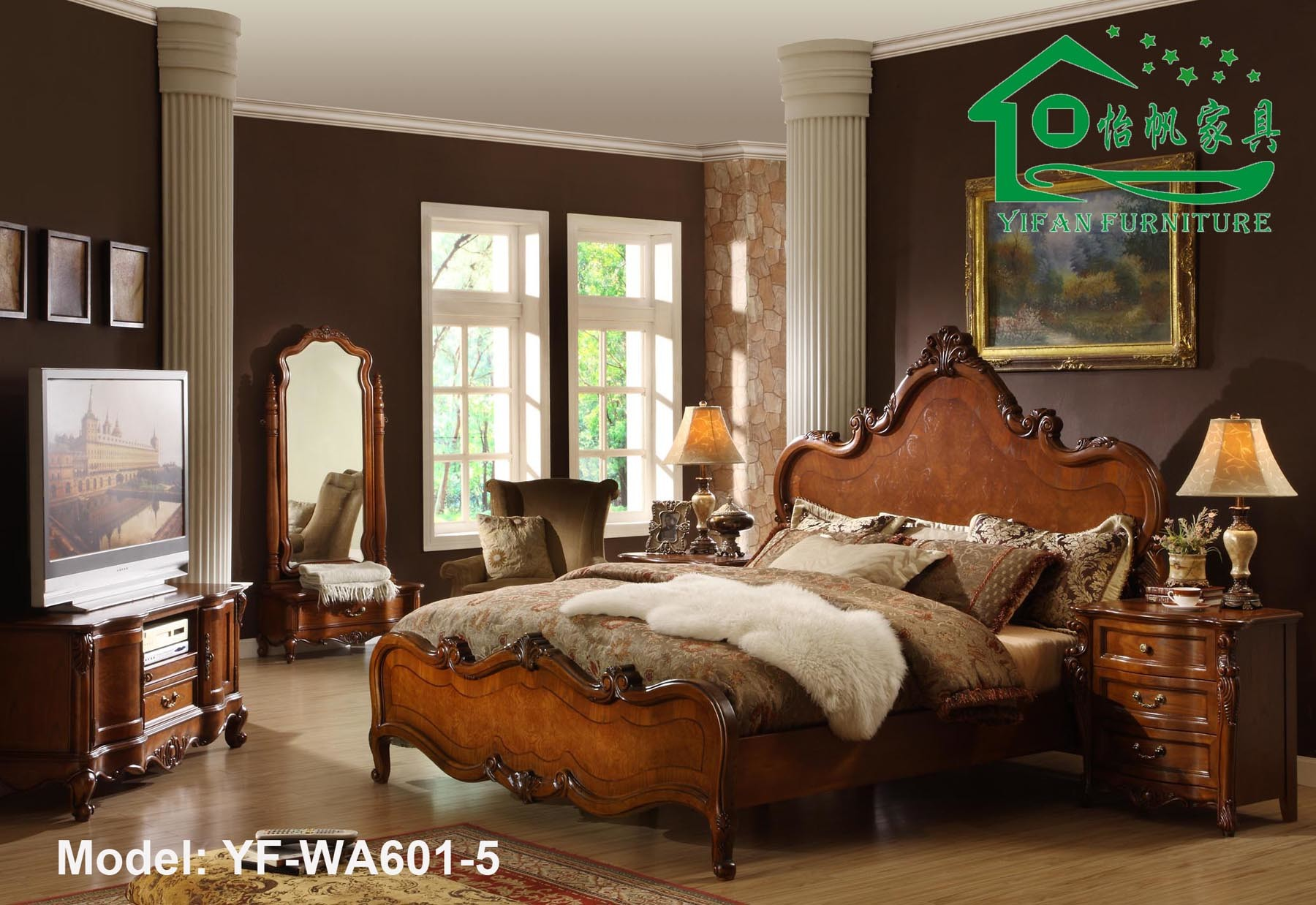 Antique Wooden Bedroom Furniture / Solid Wood Furniture (YF-WA01-5