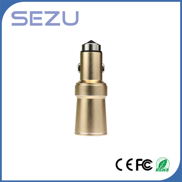 Cigarette Lighter USB Car Charger with Purifier Function and Safety Hammer