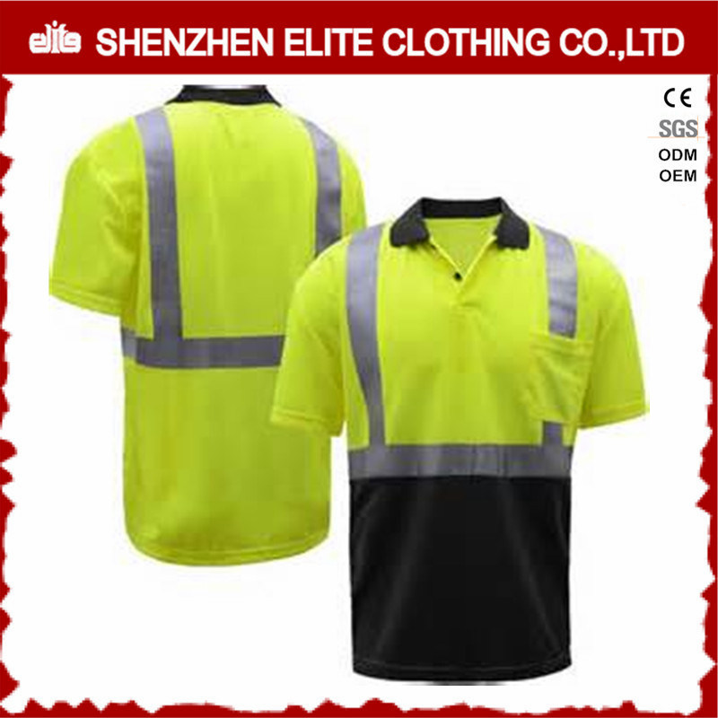 High Quality Fluorescent Green Short Sleeve Work Polo Shirts (ELTSPSI-17)