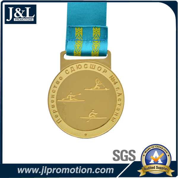 Customer Design Shiny Gold Metal Medal with H Type Ribbon
