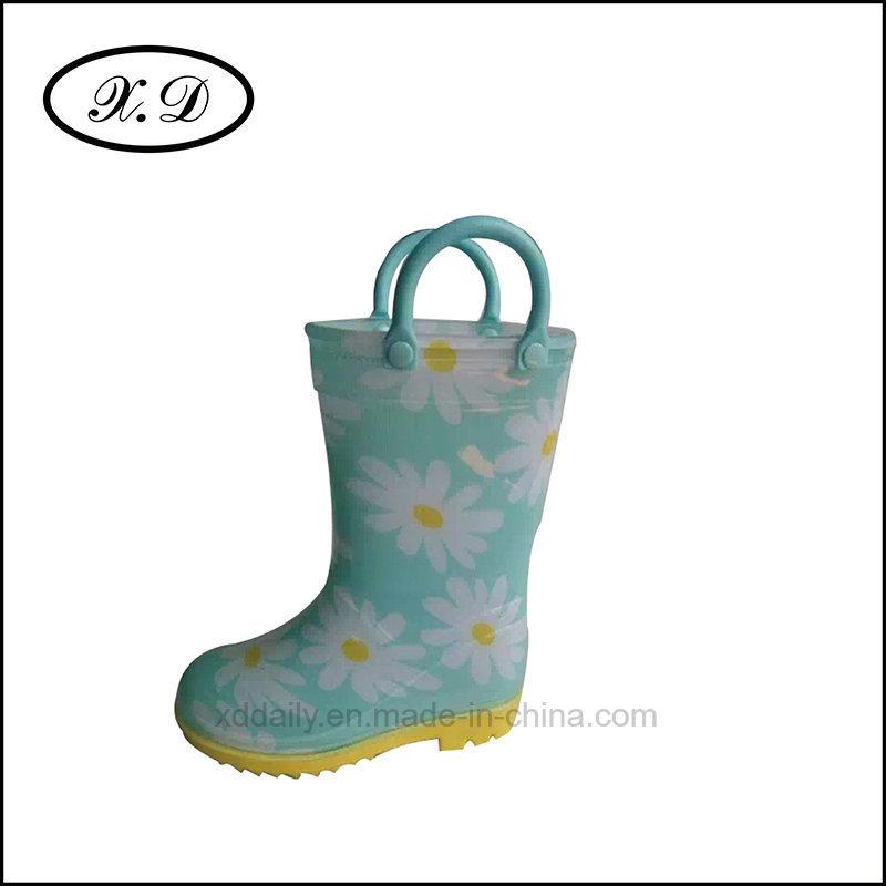 Fashion Rain PVC Kid Boots with Handle (BX-026)