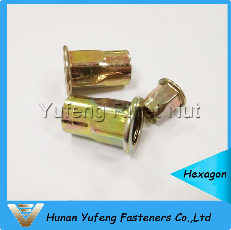 Yellow Zinc Plating Flat Head Rivet Nut with Half Hexagon Body