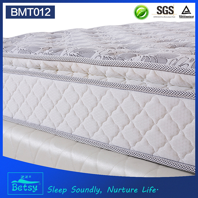 OEM Resilient Mattresses Prices 24cm Deluxe Pillow Top Design with Bonnell Spring and Foam Layer