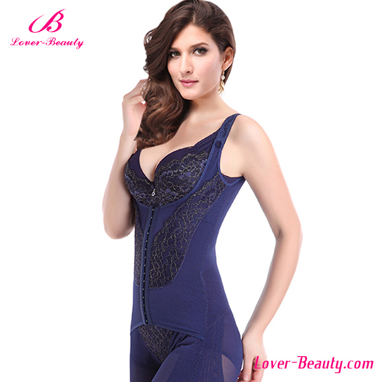 Charming Lace Blue Full Body Shapewear and Butt Lifter
