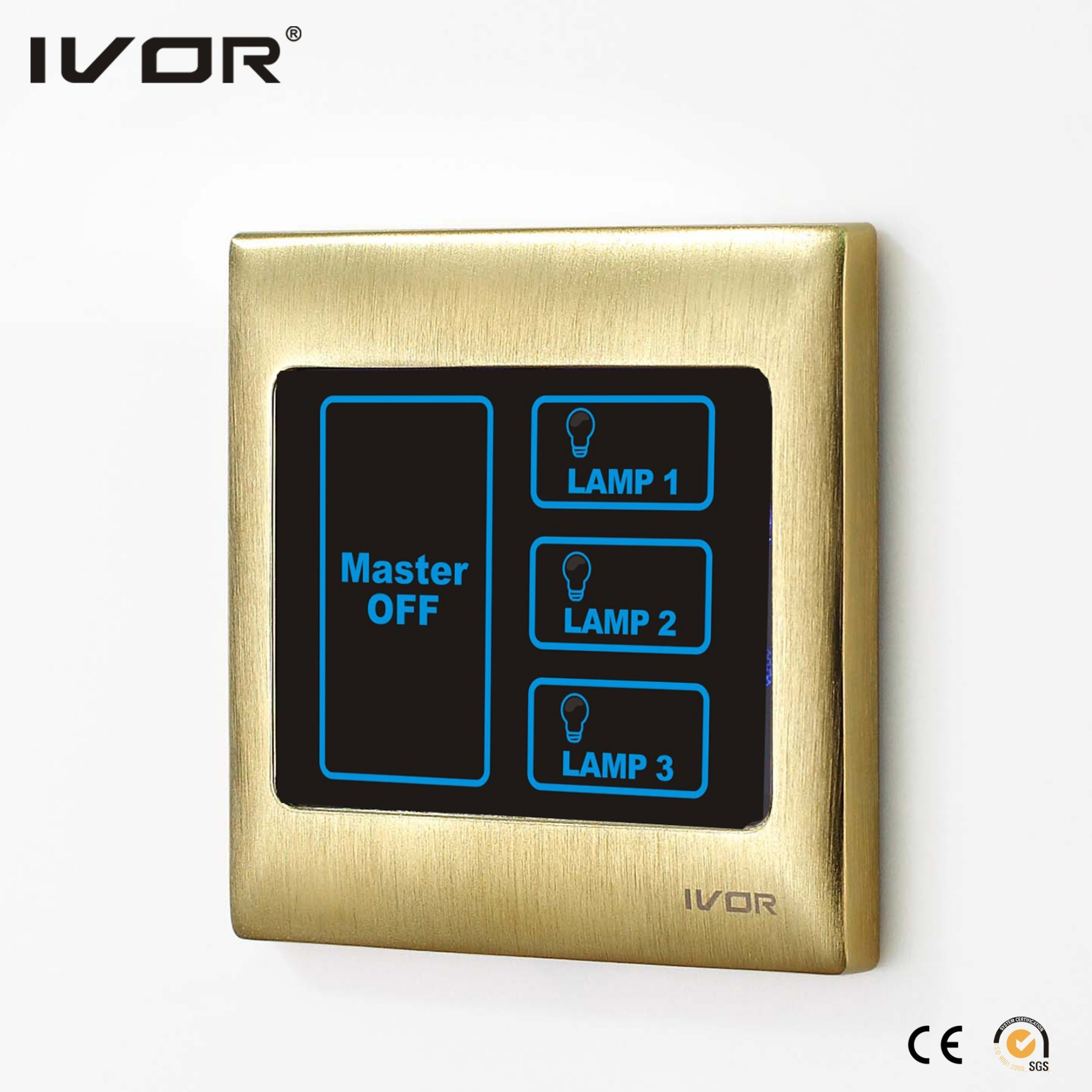 3 Gangs Lighting Touch Switch with Master Control (SK-T2000L3-M)