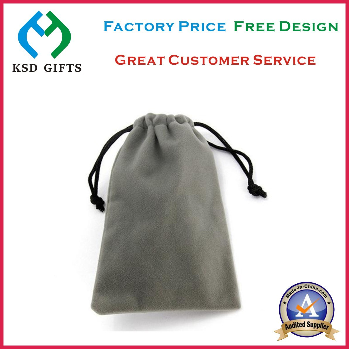 Drawstring Printed Custom Velvet Bag for Metal Lapel Pin Badge