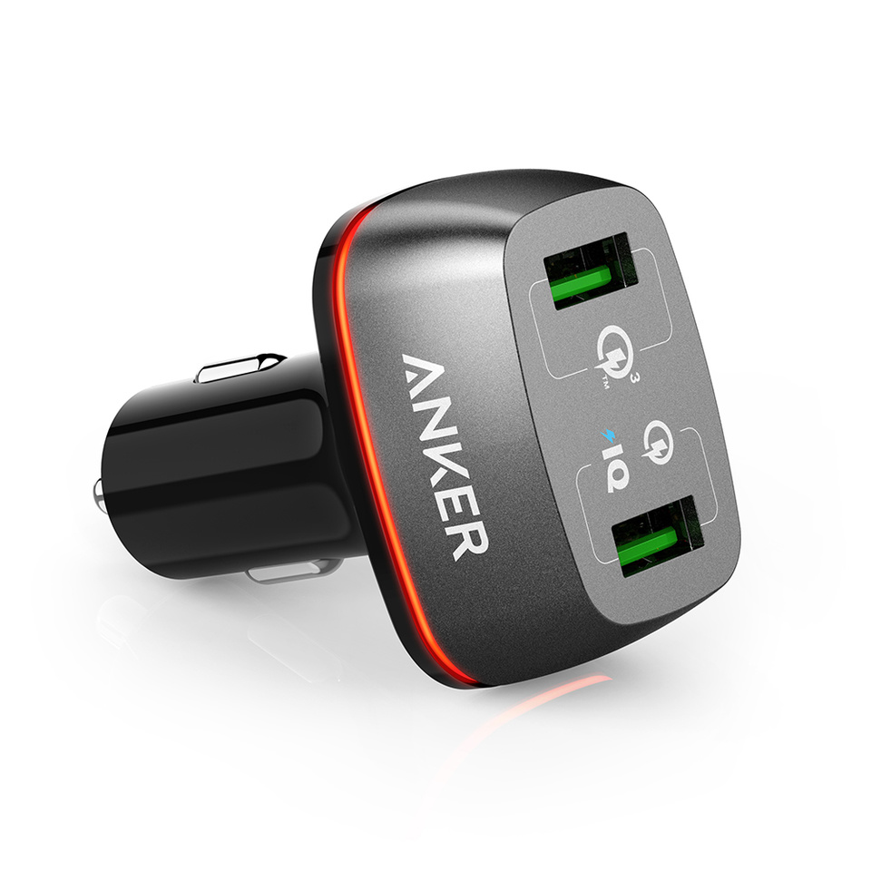 Anker 42W 2-Port USB Car Charger with Quick Charge 3.0